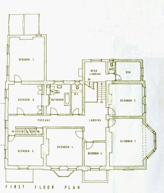The plan of the first floor of the Rectory during the 1950s.