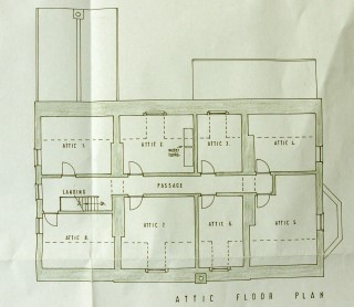 The plan of the attics of the Rectory during the 1950s.