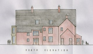 The northern (rear) elevation of the Rectory during the 1950s.