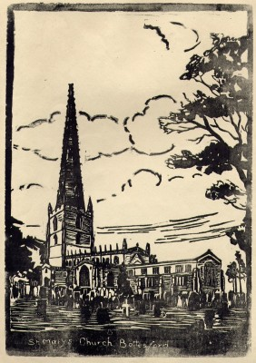 St Mary's parish church depicted in a lino-cut print created by Bottesford School children in the 1930s.