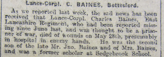 Charles Baines, Grantham Journal, 1919 | Courtesy of the Grantham Journal