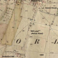 Map showing site of Bottesford Mill on Mill Lane, now Belvoir Road