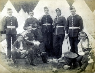 The Belvoir Battalion of the 'Old Volunteers'. Far left: Frank Lenton, 3rd from left, seated: Richard John Kettleborrow, far right: Philip Sutton, 2nd from the right: Jack Bonser