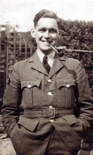 Bill Bowman in his mother's garden at Woodthorpe, 1942.