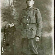 A classic studio image of the type taken of so many who volunteered for action. This shows Bill as a private in the Leicestershire Regiment.