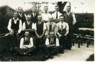 Sid Darby (1st on the left 2nd row) in the Long Alley Skittles Team at the British Legion on Albert Street beween the Wars
