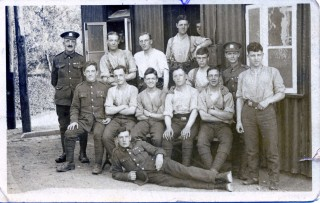 Bob Sutton (back row 4th left) 2nd Battalion Manchester Regiment platoon at ease