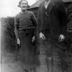 Martha (granny) and Joe (grandad) in the garden at Retford Cottages