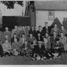 Pub outing - Joe (grandad) middle row 1st from left (sitting), Joe (dad) back row 6th from lh