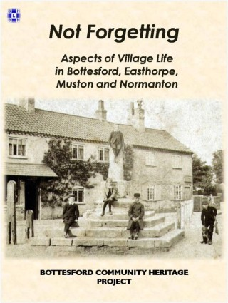 The original book cover with a picture of Victorian children at the village market cross. | Bottesford Local History Archive. Image contributed by Mr Mike Saunders.