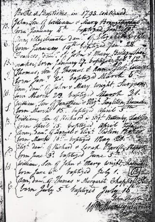 Bottesford Baptisms, 1793, signed by William Mounsey