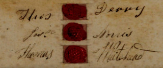 Dyer's Cottage indenture, 1885 - detail of wax seals and signatures