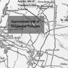1824 Map showing approximate sites of proposed turbines.