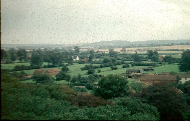 Landscape looking southwards from Bottesford church tower over Easthorpe's pastures towards Belvoir Castle.