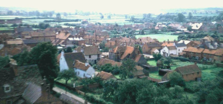 Looking SW from the church tower over Queen Street and the centre of the village.