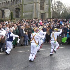 Dancers and audience in front of St Mary's, Bottesford.