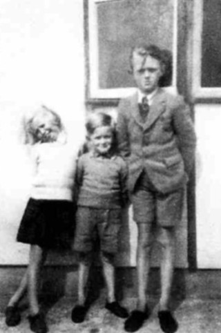 The Bradshaw children on holiday at Happisburgh, Norfolk, in 1948: Angela, Michael and John.
