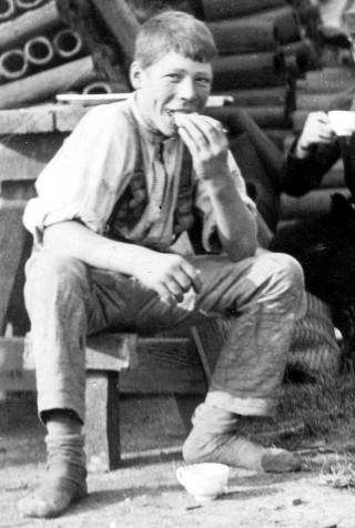 A young Bottesford brickyard worker enjoying his break