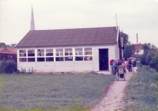 Old School Hut erected in 1938 in Daybell's field, Grantham Road