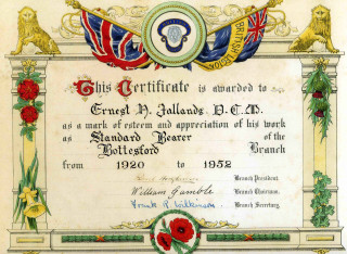 Ernest H. Jallands' Certificate of Service to the British Legion  - Standard Bearer 1920-1952