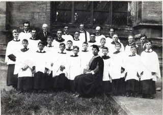 Miss Beatrice James with the Bottesford Church Choir - late 1920s