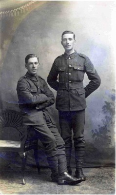 William (Bill) Christmas (b. 1893) (left) and Charlie Calcraft (b. 1888; d. 1963) (right) 'Just before the First World War. About 1912-13'