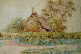 C19th watercolour of the cottage occupied by James Read (183) in 1851
