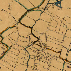 Bottesford Enclosure Map 1771 - detail showing boundaries of Bottesford, Easthorpe and Normanton. North is to the left, and the church shown is Bottesford St Mary's parish church.   Mike Saunders
