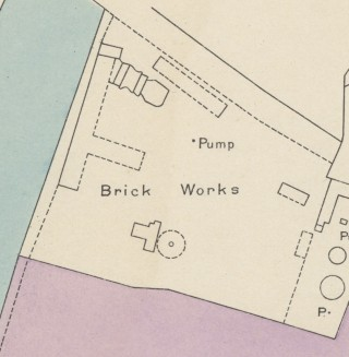 Challand's brickyard, on the 1920 map.