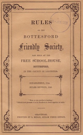Cover of the Bottesford Friendly Society Rule Book, 1860 | Bottesford Local History Society
