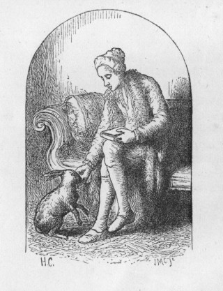 Cowper with one of his pet hares