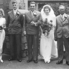 Cyril Coy's daughter Barbara's wedding to Jack Etchells late 1940s/early 1950s. Walter Coy 2nd from right.