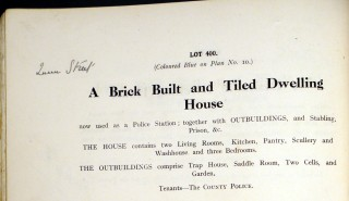 1920 'Duke's Sale' Catalogue entry. Until 1920 the police force were tenants.