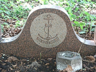 Detail of Alfred Davidson's grave - the insignia of the Boys Brigade