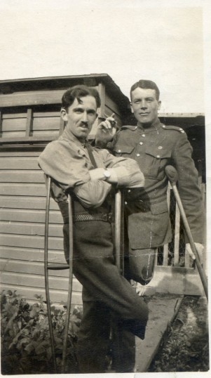 Teddy Harby (L) lost a leg at Ypres. He is seen here recuperating at Ramsgate in 1917. | From Bill Pinfold collection