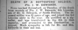 Pte, J. W. Edwards, Obituary, Grantham Journal 13/11/1915 | Courtesy of the Grantham Journal