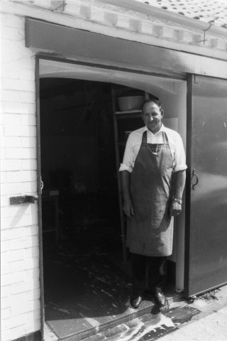 Eric George at the shop side entrance