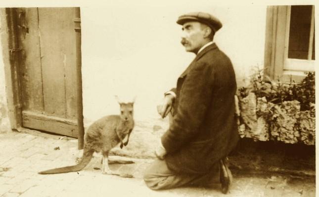 Mr F.B. Lane in Bottesford with his pet 'kangaroo'