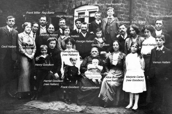 A gathering of the Hallam and Goodson families at their home on High Street. Please note that the elderly lady seated front central, holding a baby, should be named Sarah Hallam. She was the wife of Francis Hallam senior (not in this picture) and mother of George Hallam, who is standing behind her. | Courtesy of Mrs Beryl Smith. Also copy in private collection of the late Mr Fred Hallam