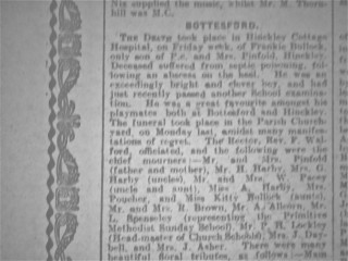 Frankie Bullock's Obituary in the Grantham Journal - 1924
