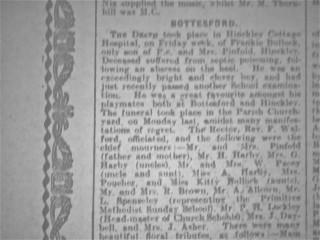 Frankie Bullock's Obituary in the Grantham Journal - 1924