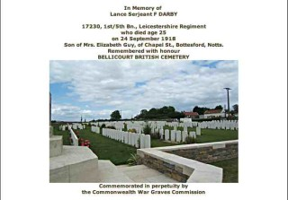 Fred Darby's Commonwealth War Graves Commission entry in the