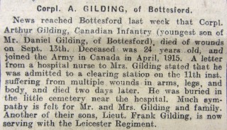 Cpl. Arthur Gilding Obituary 20th September 1915