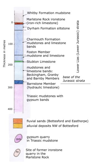Stratigraphic column, the key to the sequence of rock formations on the geological map.