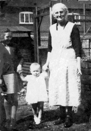 My cousin Sheila, me on my toes, and Granny Emily Culpin (probably early 1942).