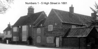 Numbers 1 to 5 High Street 1881 are now on Grantham Road
