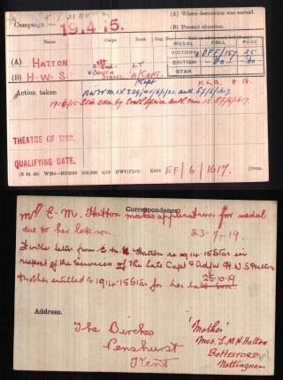 Medal Index Card - Capt. H. Walter S. Hatton | National Archive