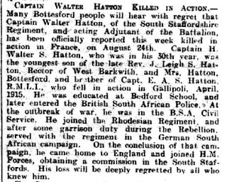 Captain Horace Walter Smeathman Hatton Grantham Journal Obituary | Courtesy of the Grantham Journal