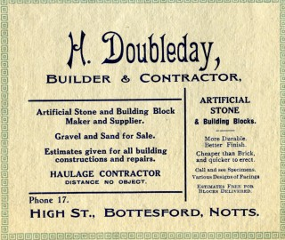 Horace Doubleday's advert in a 1925 Bottesford Amateur Operatic Society programme for their production of 'Iolanthe'.