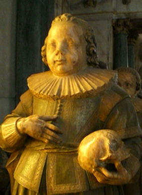 Witchcraft 'victim' Henry Lord Roos c1609-18. Statue on the tomb of Francis Manners, sixth Earl of Rutland, St Mary the Virgin Church, Bottesford